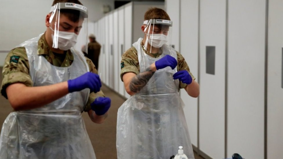 Military personnel help with covid testing in Liverpool