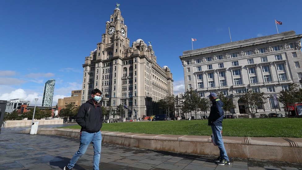 Man in mask in Liverpool